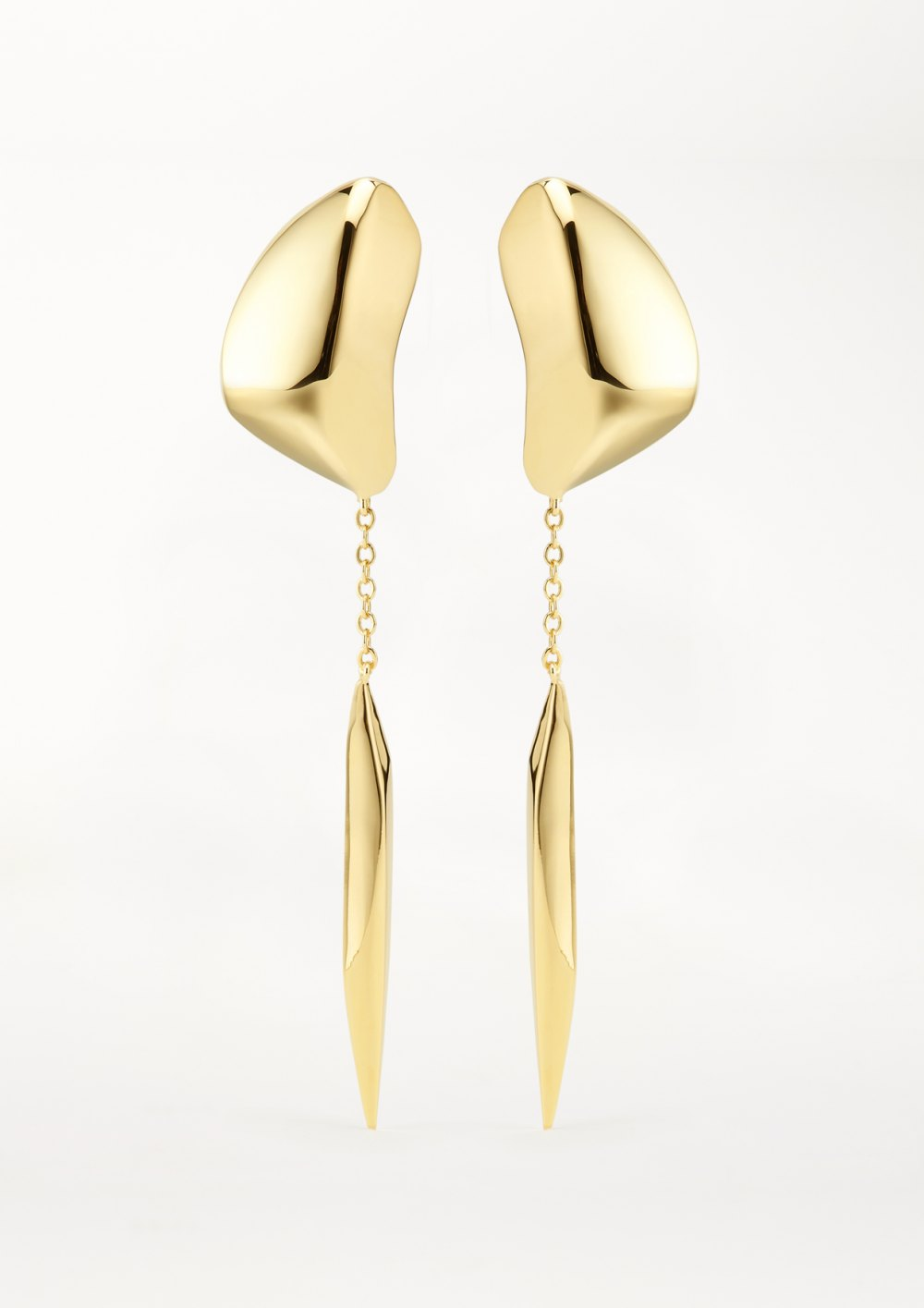 Mercury Drop Ohrring mit langer kette skulpturaler langer Anhänger in Gold xeniabous