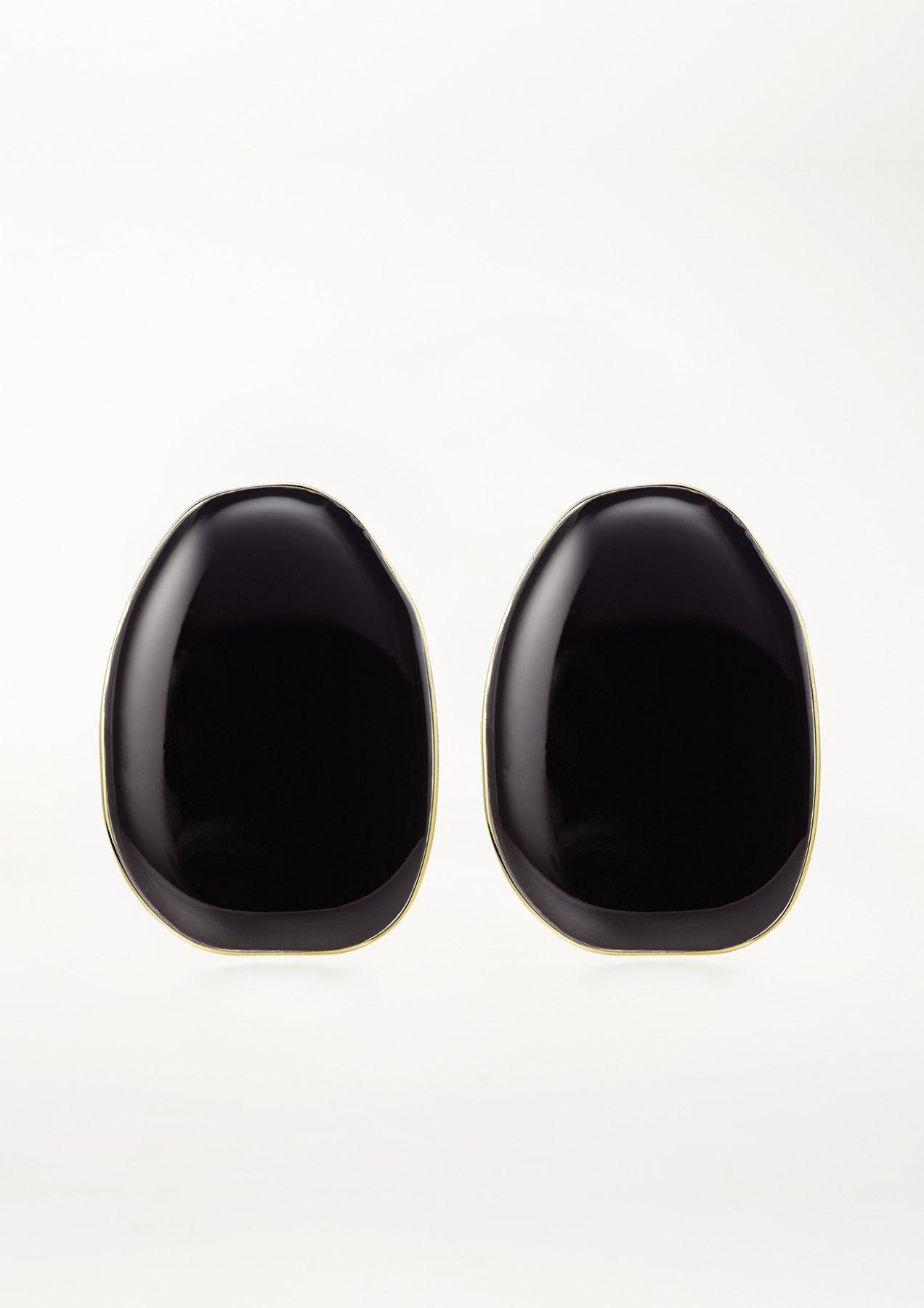 Xenia bous big coloured stone earring in black